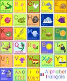 Colorful French alphabet with pictures and titles for children education. Colorful French alphabet with cartoon pictures and titles for children education royalty free illustration
