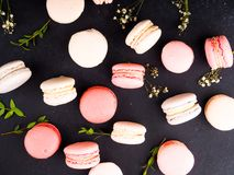 Colorful french macarons background, close up.Different colorful macaroons background.Tasty sweet color macaron,Bakery Royalty Free Stock Photography