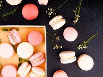 Colorful french macarons background, close up.Different colorful macaroons background.Tasty sweet color macaron,Bakery Stock Image