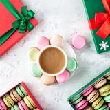 Colorful French macarons at Christmas Stock Photography
