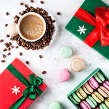 Colorful French macarons on Christmas Stock Images