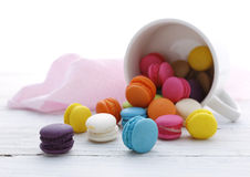 Colorful French Macarons on the floor Stock Photo
