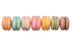 Colorful French Macarons isolated Stock Photography
