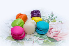 Colorful french macarons. On napkins Stock Photos