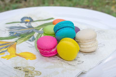Colorful french macarons. On napkins Stock Image