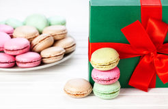Colorful French macarons present Stock Image
