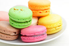 Colorful french macaroons Stock Image