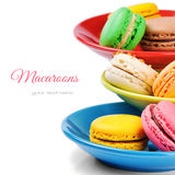 Colorful French macaroons Stock Photos