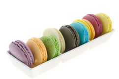 Colorful  french macaroons in bowl Stock Photos
