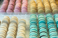 Colorful french macaroons in a box Stock Photo