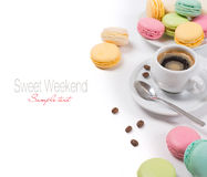 Colorful french macaroons and coffee espresso Stock Image