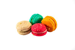 Colorful french macaroons. Isolated picture, Four sweet colorful french macaron or macaroons on white background stock photos