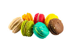 Colorful french macaroons. Isolated picture, Seven sweet colorful french macarons or macaroons on white background royalty free stock images