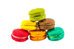 Colorful french macaroons. Isolated picture, Six sweet colorful french macaron or macaroons on white background stock image
