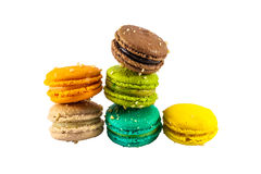 Colorful french macaroons. Isolated picture, Six sweet colorful french macarons or macaroons on white background Stock Images