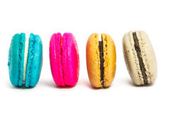 Colorful french macaroons. On white background Royalty Free Stock Photo