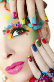 Colorful French manicure and makeup. royalty free stock photo