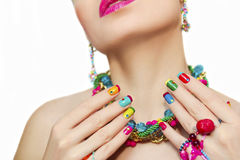 Colorful French manicure. Royalty Free Stock Image