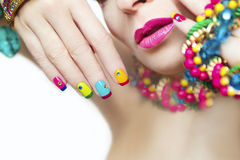 Colorful French manicure. stock image