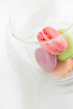 Colorful French pastry on a white background. Stock Image