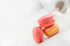 Colorful French pastry on a white background. Royalty Free Stock Photos