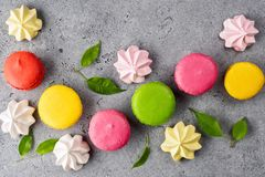 Colorful French sweet Macaroons dessert cake stock images