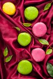 Colorful French sweet Macaroons dessert cake royalty free stock photos