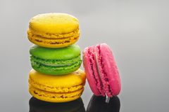 Colorful French sweet Macaroons dessert cake stock photo