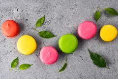 Colorful French sweet Macaroons dessert cake stock image