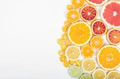 Colorful fresh citrus fruit on white background. Orange, tangeri Stock Photo