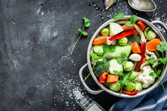 Colorful fresh clear spring soup - vegetarian stock stock image