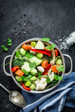 Colorful fresh clear spring soup - vegetarian stock stock photography