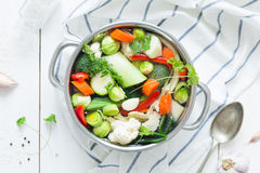 Colorful fresh clear spring soup - vegetarian stock royalty free stock photos