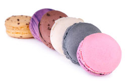 Colorful fresh delicious macaroons. On white Stock Image