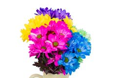 Colorful fresh flowers in a jug Royalty Free Stock Photography