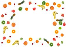 Colorful fresh fruit border Royalty Free Stock Photo