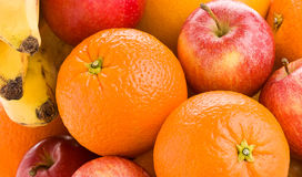 Colorful Fresh Fruits. Close- up of colorful fresh fruits with oranges, apples, grapefruit, and bananas Stock Photos
