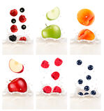 Colorful fresh fruits falling into the milky splash. Vector illu Stock Photo