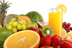 Colorful fresh Fruits and juice Royalty Free Stock Image