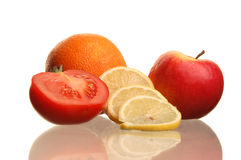 Colorful fresh group of fruits and vegatable. Royalty Free Stock Photography