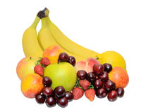 Colorful fresh group of fruits on white Stock Images