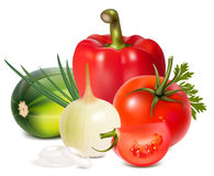 Colorful fresh group of vegetables. Photorealistic . Colorful fresh group of vegetables Royalty Free Stock Images