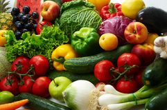 Colorful fresh group of vegetables and fruits Stock Images