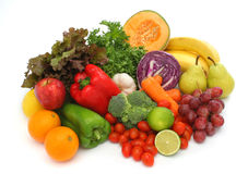 Colorful fresh group of vegetables and fruits Stock Photography