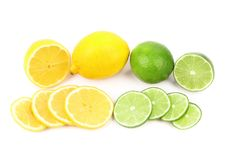 Colorful fresh lime and lemon fruit Royalty Free Stock Photography