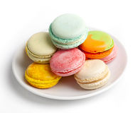 Colorful fresh makarons Cake on a plate Stock Photography