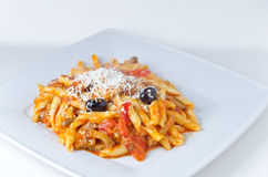 Colorful fresh penne stock photos