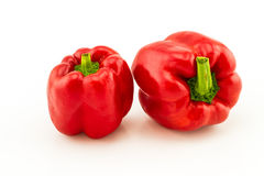 Colorful of fresh red sweet bell pepper (capsicum)   stack on wh Stock Photos