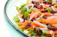 Colorful fresh salad. Mixed colorful salad of cranberry and carrot with lettuce and baby leaves Stock Images