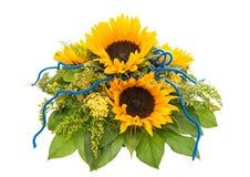 Colorful fresh sunflowers bouquet. Festive arrangement Royalty Free Stock Image
